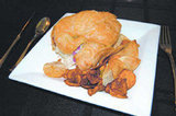 <p>A West Coast Club grilled turkey, tomato, arugula, on a fresh croissant. Served with fries.</p>